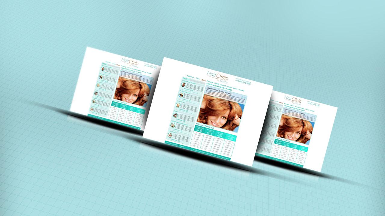 KRAK-GRAF portfolio HairCLINIC layout strony internetowej 1